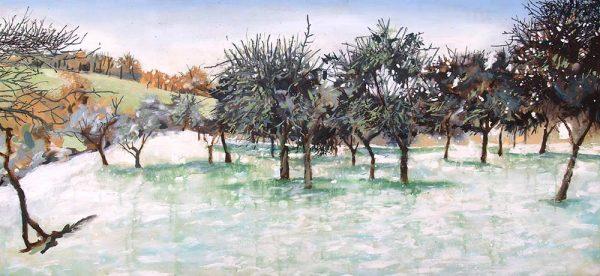 Snowy Apple Orchard