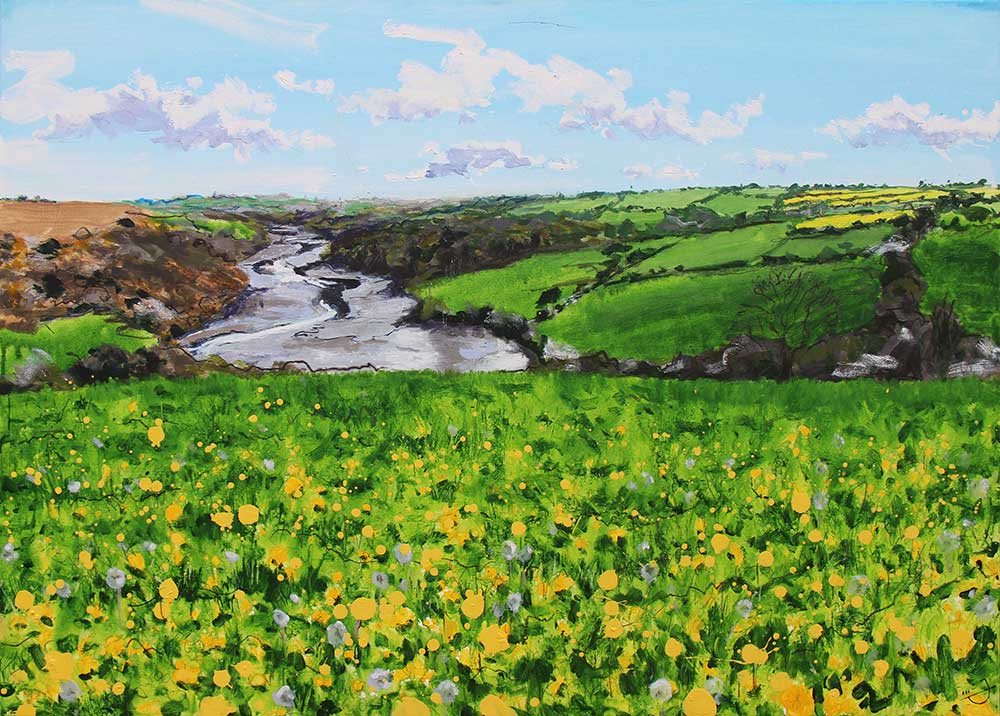 Yellow and green painting looking towards Helford River, Cornwall by artist Joe Webster