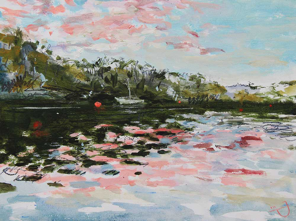Painting from a canoe of the Helford River, Cornwall by artist Joe Webster