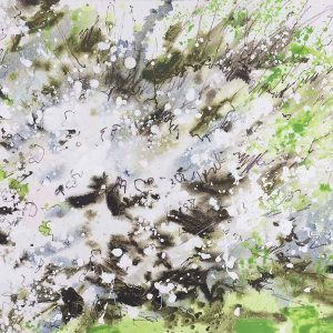 Blackthorn Blossom, White and Green Painting, artist Joe Webster