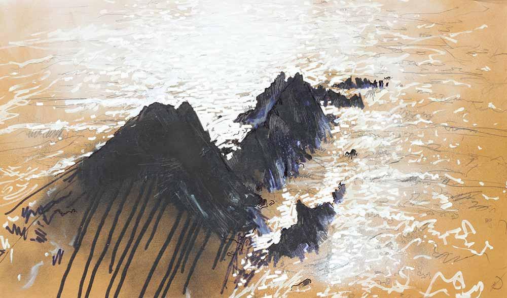 Graffiti inspired drawing of North Devon Coastline, Seascape from Hartland Quay