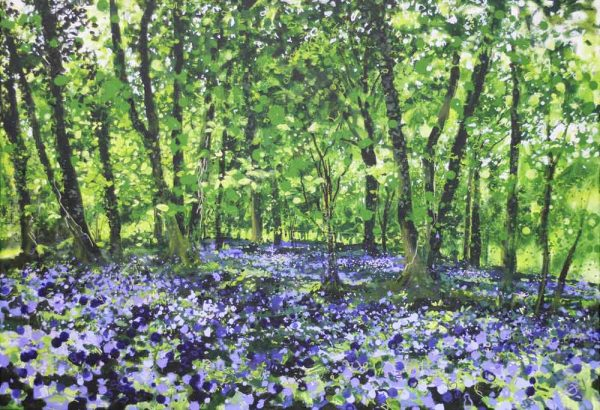 'Bluebells and Dormice', bluebell art for sale by Devon landscape artist Joe Webster